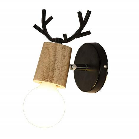 Modern Wall Light Christmas Deer Wall Sconce Creative Antlers Wall Lamp E27 Black Metal Wood Wall Light Retro Wall Lamp