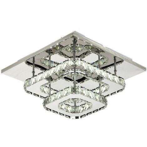 Crystal Ceiling Light Modern Square Ceiling Lamp Ø30cm 36W LED Chandelier Bilayer Chandelier Cool White