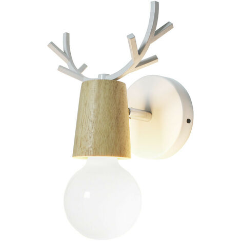 Modern Wall Light Creative Christmas Deer Wall Sconce Antlers Wall Lamp E27 White Metal Wood Wall Light Retro Wall Lamp