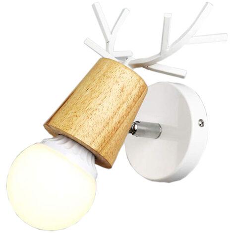 Modern Wall Light,Creative Christmas Deer Wall Sconce Antlers Wall Lamp E27 Metal Wood Wall Light Retro Wall Lamp White