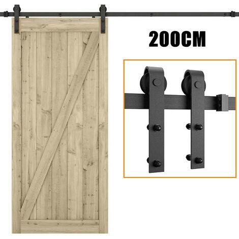 Black Barn Pulley Door Hardware Kit Sliding Track Steel Slide Track Rail Door Antique Style Sliding Door for Flat Sliding Panel Wood Single Door CloSet Cabinet 200cm