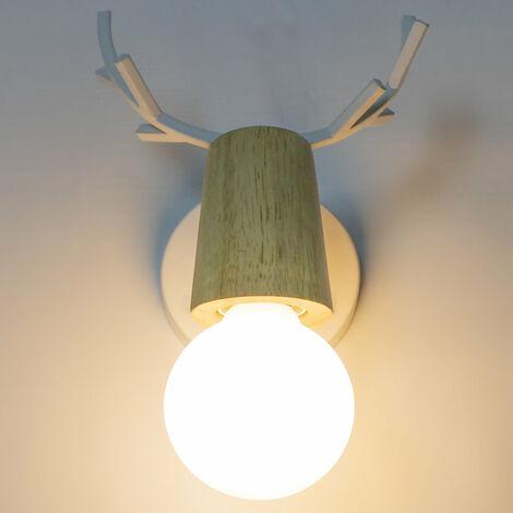 Modern Wall Light,Antlers Wall Lamp Creative Christmas Deer Wall Sconce E27 Metal Wood Wall Light Retro Wall Lamp White