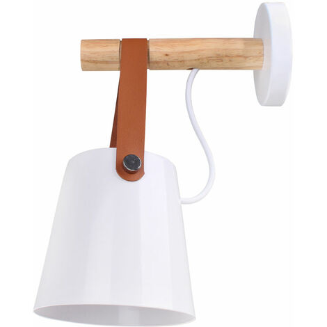 Modern Wall Lights Wooden Iron E27 Holder Wall Lamps Sconce for Living Room Bedrooms Bedside, White