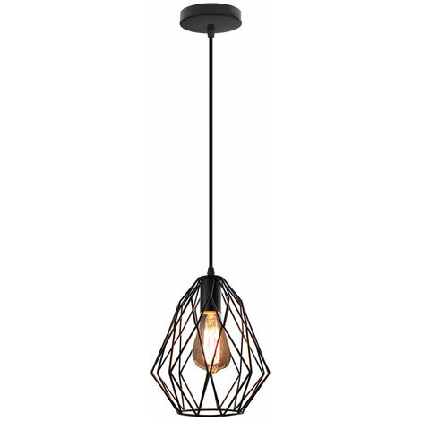 Vintage Pendant Light Adjustable Ceiling Lamp with Metal Cage Shade for Bedroom Living Room, Black