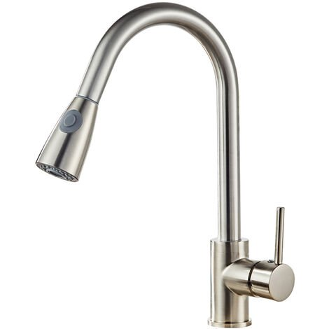 Kitchen Sink Mixer Tap with Pull Down Sprayer, Single Handle High Arc Pull Out Kitchen Spray Faucet
