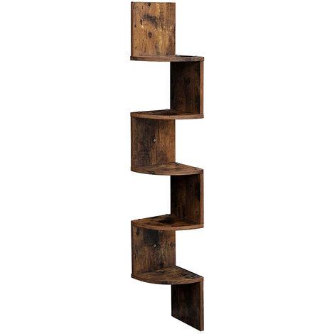 Corner Shelf, 5-Tier Floating Wall Mounted Shelf, Rustic Brown Wood Hanging Storage Rack for Book Plant Display