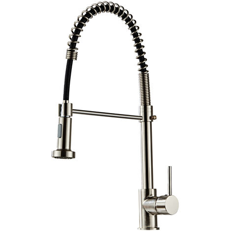 Pull Out Kitchen Sink Mixer Tap, 360° Rotate Copper Kitchen Faucet with Stainless Steel Pull Down Sprayer, 2 Water Outlet Modes (Brushed Finish)