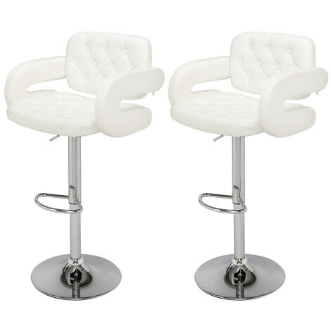 Bar Stools Set of 2 with U-shape Arms, Adjustable Swivel Gas Lift Square Leather Bar Chairs for Kitchen Breakfast Bar Counter Home Furniture (White)