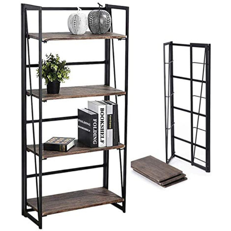 4 Tier Foldable Book Shelves for Display and Storage, Industrial Wooden Storage Shelf with Metal Frame for Living Room Bedroom Entryway Office (Rustic Brown)