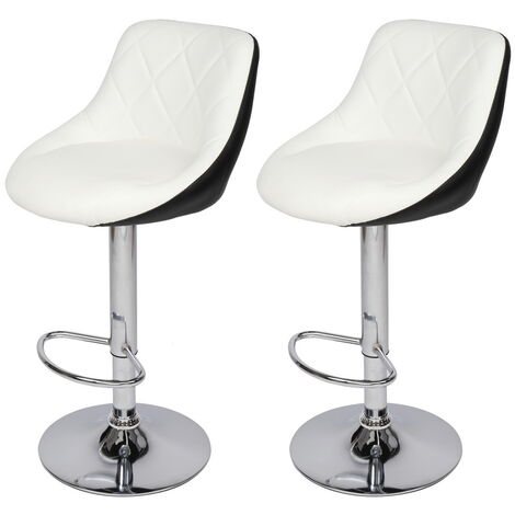 Bar Stools Set of 2, Adjustable Swivel Gas Lift Elegant Leather Bar Chairs with Footrest for Kitchen Breakfast Bar Counter Home Furniture (White & Black)