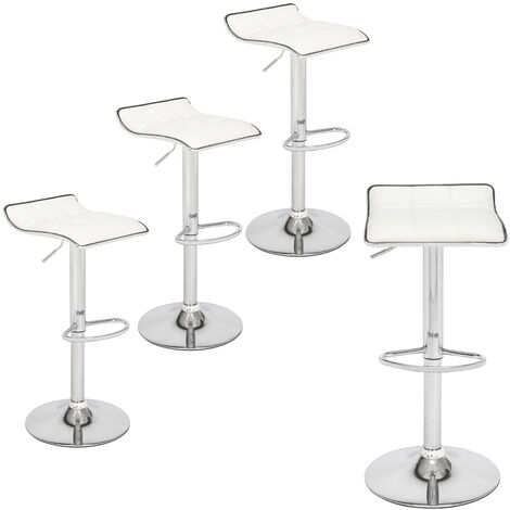 Bar Stools Set of 4, Adjustable Swivel Gas Lift Leather Counter Chairs with Footrest for Kitchen Breakfast Bar Counter Home Furniture (White)
