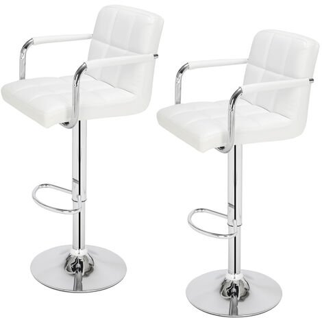 Bar Stools Set of 2 with Arms, Adjustable Swivel Gas Lift Leather Bar Chairs with Double Stitching Square Back for Kitchen Breakfast Bar Counter Home Furniture (White)