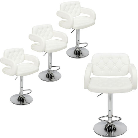 Bar Stools Set of 4 with U-shape Arms, Adjustable Swivel Gas Lift Square Leather Counter Chairs for Kitchen Breakfast Bar Counter Home Furniture (White)