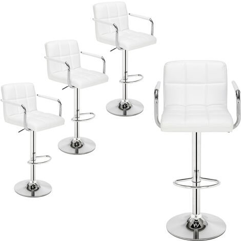 Bar Stools Set of 4 with Arms, Adjustable Swivel Gas Lift Leather Counter Chairs with Double Stitching Square Back for Kitchen Breakfast Bar Counter Home Furniture (White)