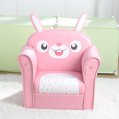 Kids Single Sofa, Mini Children Rabbit Pattern Leather Armchair with Wood Frame for Bedroom Playroom Furniture (Pink)