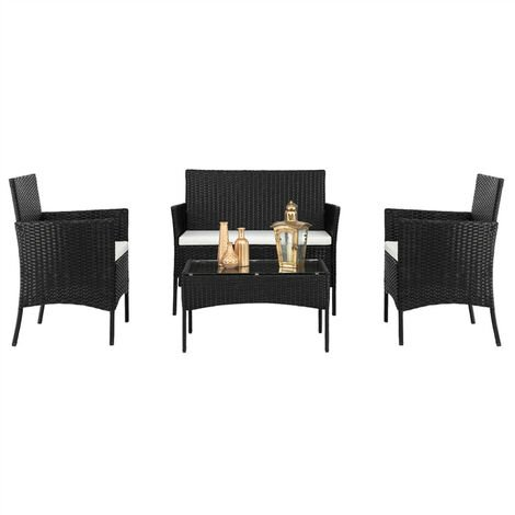 Rattan Sofa Set of 4, 2pcs Arm Chairs 1pc Love Seat & Tempered Glass Coffee Table Conversation Set for Outdoor Garden Patio Yard Furniture (Black)