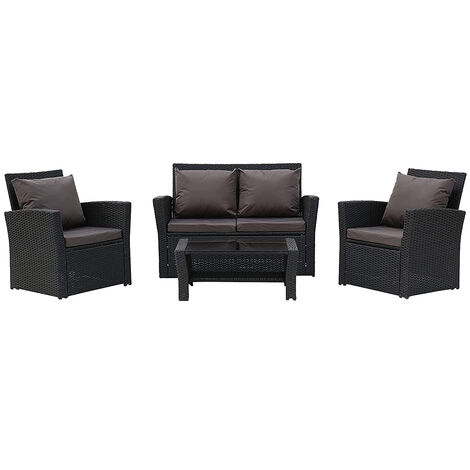 Rattan Sofa Set of 4, 2pcs Arm Chairs 1pc Love Seat & Tempered Glass Coffee Table Conversation Set with 4pcs Dark Gray Cushions for Outdoor Garden Patio Yard Furniture (Black)