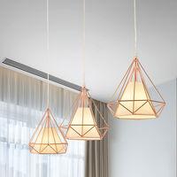 Ø25cm Rose Gold Chandelier, Modern Pendant Light Contemporary Hanging Light Iron Metal Pendant Lamp Diamond Shape Ceiling Light E27