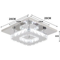 2x K9 Crystal Chandelier Clear Glass Ceiling Lamp LED Modern Ceiling Light for Living Room Bedroom Office Cool White