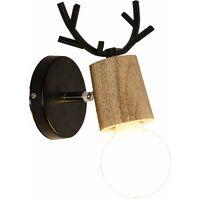 Modern Wall Light Retro Wall Lamp Christmas Deer Wall Sconce Creative Antlers Wall Lamp Metal Wood Wall Light E27 Black