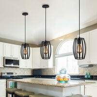Vintage Chandelier Black Industrial Creative Pendant Light Cage Ceiling Lamp Retro Hanging Light Metal Iron Lamp Shade