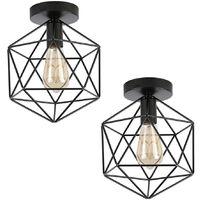 2pcs Retro Ceiling Lamp Vintage Chandelier Industrial Ceiling Light Iron Metal Cage Ceiling Light for Living Room Kitchen Hallway