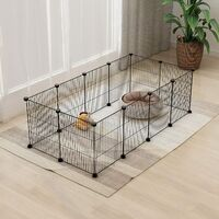 12 Panel Pet Playpen Metal Wire DIY Animal Fence Cage For Small Animals Kit (Black)