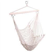 Net Hanging Chair, Cotton Hammock Swing Seat Cotton for Patio Porch Bedroom Backyard Indoor or Outdoor