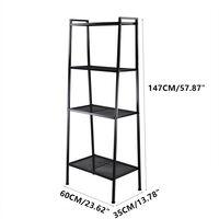 Storage Shelf 4 Tier for Book, Indoor Plant Flower Stand Shelf Unit, Metal Ladder Leaning Shelf for Living Room Bedroom (Black)