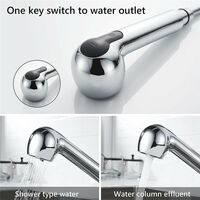 Pull Out Kitchen Sink Mixer Tap, 360° Rotate Copper Kitchen Faucet with Stainless Steel Pull Down Sprayer, 2 Water Outlet Modes (Chrome)