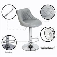 Bar Stools Set of 2, Adjustable Swivel Gas Lift Elegant Leather Bar Chairs for Kitchen Breakfast Bar Counter Home Furniture (Grey)