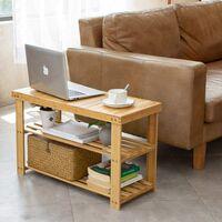 3-Tier Bamboo Shoe Bench, Shoe Rack Storage Organizer for Hallway Bathroom Living Room and Corridor (90 x 28 x 45 CM)