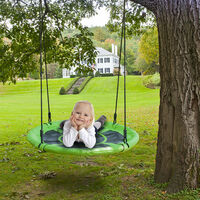 Round Tree Swing Seat for Children, 900D Oxford Nest Kids Swing Chair for Outdoor Garden Patio, Hold up to 100kg / 220.46lbs (Ø100cm/Green)