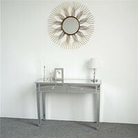 Mirrored Table Modern Luxury Glass Desk with 2 Storage Drawers for Women Makeup 105 x 36 x 76 cm