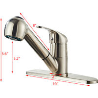 Pull Out Kitchen Sink Mixer Tap, 360° Rotate Copper Kitchen Faucet with Stainless Steel Pull Down Sprayer, 2 Water Outlet Modes (Brushed)