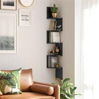 Corner Shelf, 5-Tier Floating Wall Mounted Shelf, Black Wood Hanging Storage Rack for Book Plant Display