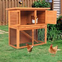 """2 Tier Pet Hutch House Shelter, 36"""" Waterproof Wooden Rabbit Guinea Pig Chicken Cage House"""