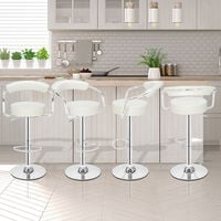 Bar Stools Set of 2 with Arms, Adjustable Swivel Gas Lift Round Leather Bar Chairs for Kitchen Breakfast Bar Counter Home Furniture (White)