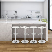 Bar Stools Set of 2, Adjustable Swivel Gas Lift Leather Bar Chairs with Footrest for Kitchen Breakfast Bar Counter Home Furniture (White)