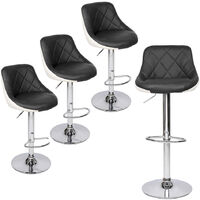 Bar Stools Set of 4, Adjustable Swivel Gas Lift Elegant Leather Counter Chairs with Footrest for Kitchen Breakfast Bar Counter Home Furniture (Black & White)