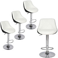 Bar Stools Set of 4, Adjustable Swivel Gas Lift Elegant Leather Counter Chairs with Footrest for Kitchen Breakfast Bar Counter Home Furniture (White & Black)