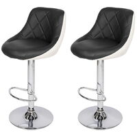 Bar Stools Set of 2, Adjustable Swivel Gas Lift Elegant Leather Counter Chairs with Footrest for Kitchen Breakfast Bar Counter Home Furniture (Black & White)