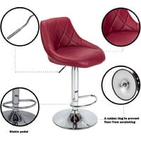Bar Stools Set of 4, Adjustable Swivel Gas Lift Elegant Leather Counter Chairs for Kitchen Breakfast Bar Counter Home Furniture (Red)