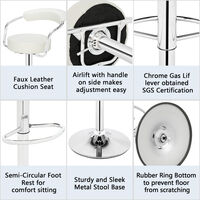 Bar Stools Set of 4 with Arms, Adjustable Swivel Gas Lift Round Leather Counter Chairs for Kitchen Breakfast Bar Counter Home Furniture (White)
