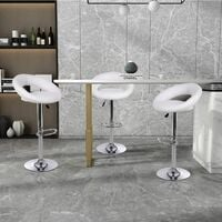 Bar Stools Set of 4, Adjustable Swivel Gas Lift Leather Round Counter Chairs with Footrest & Backrest for Kitchen Breakfast Bar Counter Home Furniture (White)