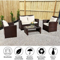Rattan Sofa Set of 4, 2pcs Arm Chairs 1pc Love Seat & Tempered Glass Coffee Table Conversation Set with 4pcs Beige Cushions for Outdoor Garden Patio Yard Furniture (Brown)