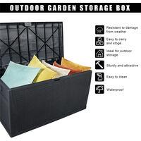 Outdoor Plastic Storage Box, Garden 120gal 460L Storage Resin Deck Bench Box Furniture Lockable Waterproof (Black)
