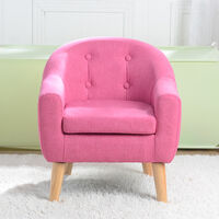 Kids Double Sofa, Mini Children Linen Armchair with Anti-Slip Wooden Legs for Bedroom Playroom Furniture (Pink)