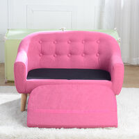 Kids Single Sofa, Mini Children Linen Armchair with Anti-Slip Wooden Legs for Bedroom Playroom Furniture (Pink)