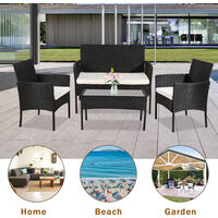Rattan Sofa Set of 4, 2pcs Armchairs 1pc Love Seat & Tempered Glass Coffee Table Conversation Set with White Cream Cushion for Outdoor Garden Patio Yard Furniture (Black)